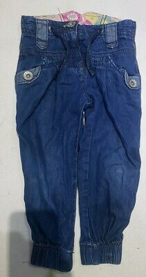 Girls Blue Denim Jean Trousers/adjustable waist/pockets,Next,3yrs