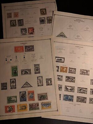 Old Liberia Libya Lebanon  Stamp Collection On Scott Album Pages - Mh And Used