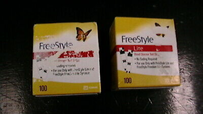 2 Boxes FreeStyle Lite 100 Count Diabetic Test Strips 200 strips in Total! NEW!