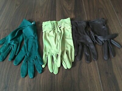 Vintage Ladies Nylon Gloves x 3 Small Pairs in Mixed Colours