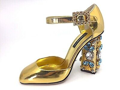 DOLCE & GABBANA Jeweled Floral Crystal Leather Baroque Pumps Heels Gold sz 36