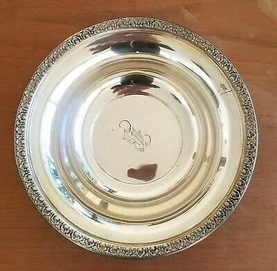 "Vintage Dunkirk Sterling Silver Repousse 9.5"" Serving Bowl B Monogram ~ 10 ozs"