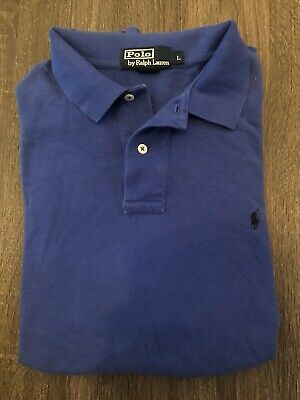 POLO By RALPH LAUREN MENS BLUE SHORT SLEEVE RUGBY SHIRT LARGE CLASSIC