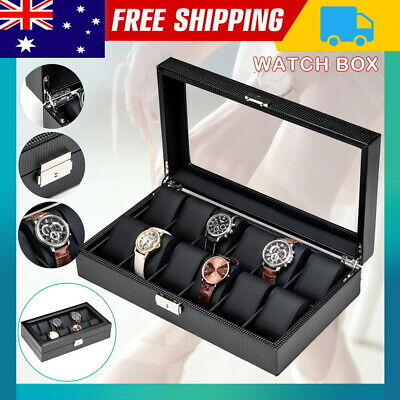 6/10/12 Grids Watch Display Case PU Leather Jewelry Storage Box Organize