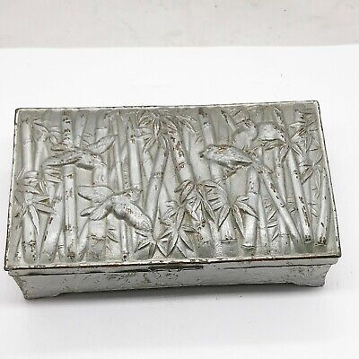 Antique Chinese Oriental Japanese Birds Bamboo Cigarette Box Trinket Cigar