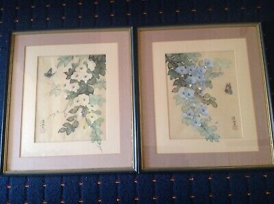 Pair Of Vintage Chinese Signed Silk Watercolour Paintings. Flowers & Butterflies