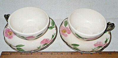 2 Vintage Franciscan Desert Rose Dinnerware Tea Coffee Cup And Saucer Sets