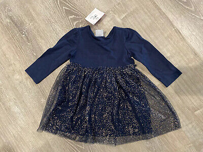 Girls Hanna Andersson Dress Navy Blue Gold Tulle Childrens Baby US 18-24 Months
