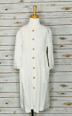 Zara Kids Boho White Long Sleeve Cotton Dress Embroidery 10 140cm NWT