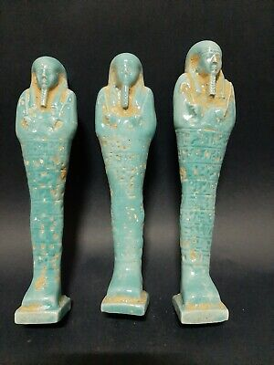 Rare ANCIENT EGYPTIAN ANTIQUES BLUE FAIENCE 3 USHABTI With Hieroglyphics BC