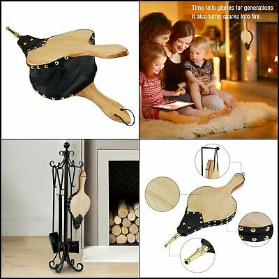 """Fireplace Bellows Indoor 19""""x 8"""" Large Wood Fire Blower with Hanging Strap NEW"""