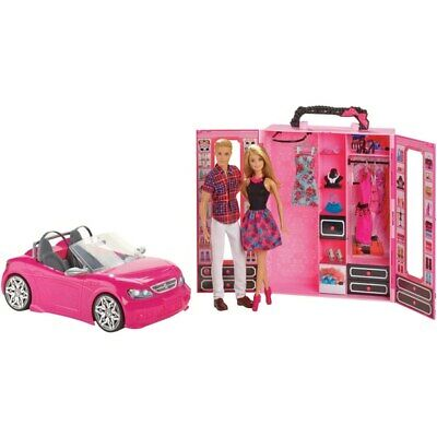 NEW Barbie Dress Up And Go Closet Convertible Car With 2 Dolls Girls Set Doll
