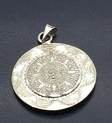 Sterling Silver Aztec Calendar Pendant  Mayan Warrior Reversible  Large Mexican