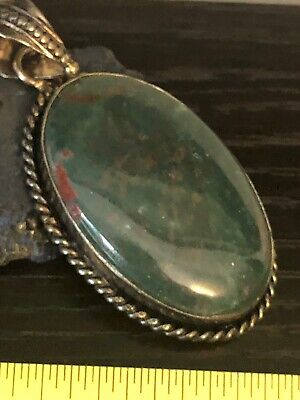 Vintage Native American blood stone green red sterling silver oval pendant 10g