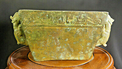 Ancient Chinese Ritual Bronze Alchemist Immortality Dragon Vessel--Shang Dynasty
