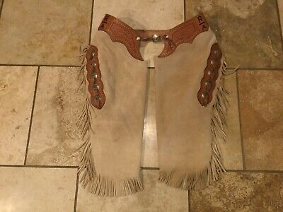 Custom Handmade Tooled Leather Cowboy Chinks Chaps