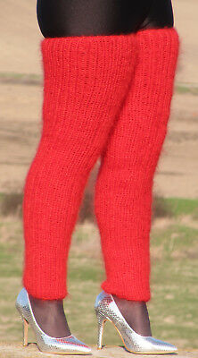 MOHAIR hand knitted BRIGHT RED gaiters LEGWARMERS legging spats Unisex Fuzzy