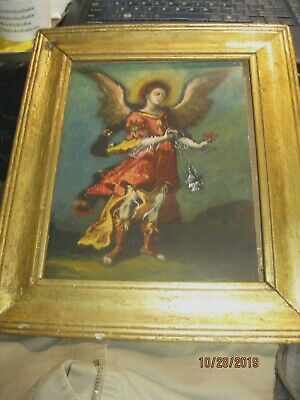 Contemporary Retablo On Tin Image Of An Archangel Signed ''Santana'' Framed