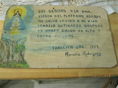 Original Vintage Retablo / Exvoto On Masonitedated 1957 Woman Thanking Our Lady