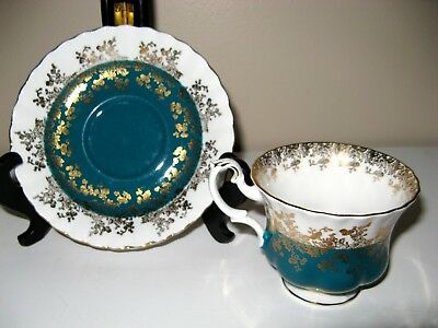 Royal Albert English China Teacup Cup & And Saucer Set Regal Series Teal Green