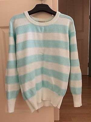 Country Road Vintage Mint Green and White Striped Cotton Sweater Jumper Wmns 8