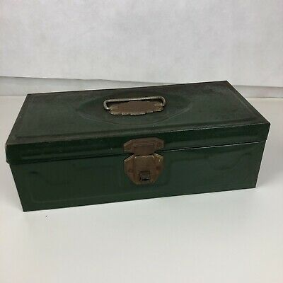 VTG Metal Tool Box Leroy NY Green Union Steel Tackle Stash Box Utility Chest USA