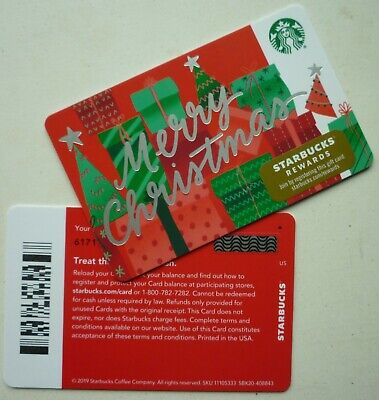 STARBUCKS CARD HOLIDAY ' MERRY CHRISTMAS ' 2019 #6171 w/ ' SQUARE ' MARK BARCODE