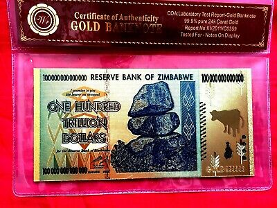 Zimbabwe 100 Trillion Dollars Banknote Coloured Gold Note In Coa