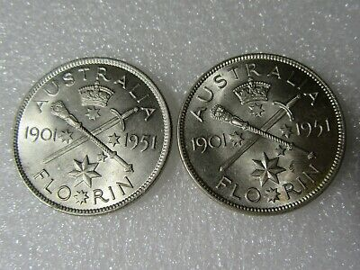 1951 Commemorative Florins     2  Brilliant  Coins
