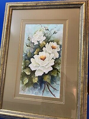 Gilt Framed Original Water Colour - Sweet Roses, 53 x 38cm Artist Signed 2000