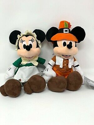Disney Parks Thanksgiving Pilgrim Mickey Minnie Mouse Plush Set 2019 Holiday NWT
