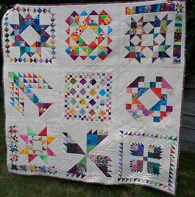 Handmade patchwork quilt - happy scrappy, cotton batting, all new fabrics