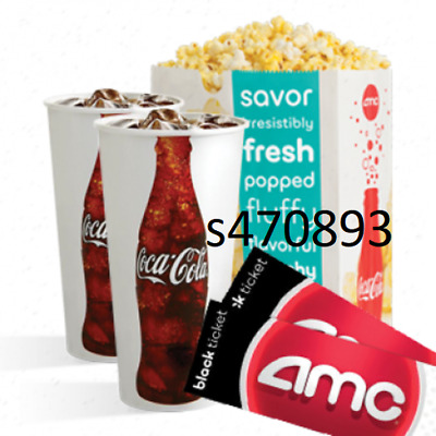2 AMC Black Tickets, 2 Large Drinks, and 1 Large Popcorn e-delivery