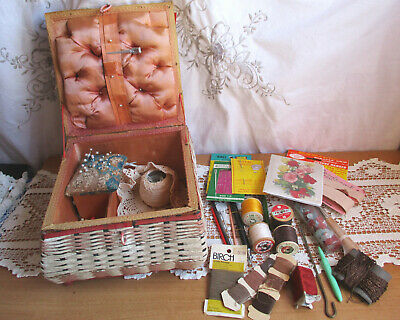 SHABBY VINTAGE WICKER/RATTAN SEWING BASKET with CONTENTS - SEWING CRAFT BITS AND
