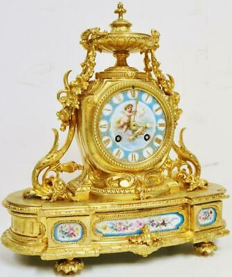 Antique French Bronze Ormolu & Sevres Porcelain 8 Day Bell Striking Mantle Clock