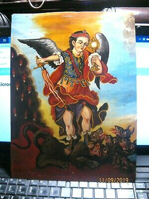 Vintage  Retablo On Tin Archangel Michael Slaying The Demons Great Condition