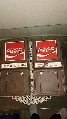 """LOT OF 2 COCA COLA 1970's CALENDAR HOLDERS """"HAVE A COKE & A SMILE,"""" """"HAVE A NICE"""