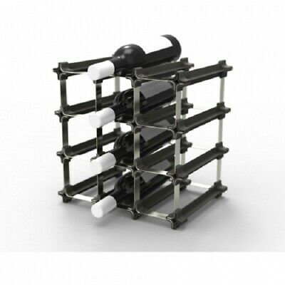 Nook SMALL WINE RACK 32.5x23.5x32.5cm Holds 9-Bottles, Stainless Steel/Polymer