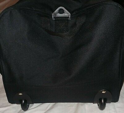 Black Rolling Tote-bag Duffle Wheeled Carry-on Luggage Travel Suitcase w/wheels