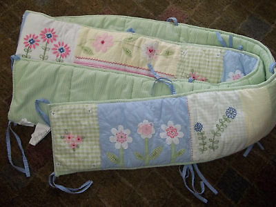 Pottery Barn Kids PBK Floral Flowers Daisy Gingham Crib Bumper Pads Set