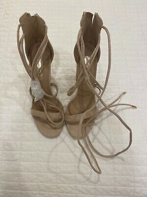Billini Beige Suede Lace Up High Heels Size 8