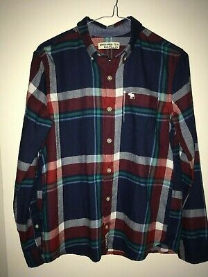 abercrombie kids boy's navy, red, green, blue check long sleeve shirt size 13-14