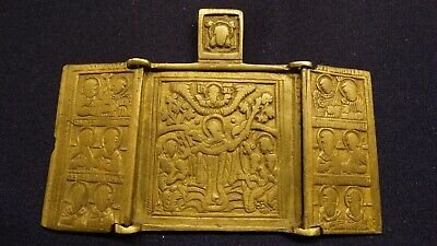 Russian orthodox bronze icon  Our Lady of Joy of All Who Sorrow  19th