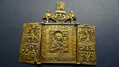 Russian orthodox bronze icon Mother of God Our Lady 18-19th century  PATINA