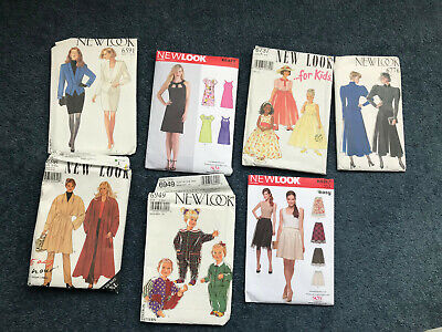 VINTAGE Sewing Patterns NEW LOOK job lot: 5 ladies / 2 childrens. USED UNCHECKED