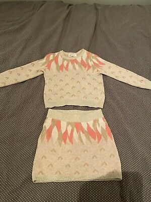 Baby Girls H&M Knitted Pink Cream Gold Jumper And Skirt Set - Age 2-4 Years