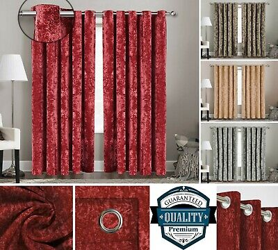 Thick Crushed Velvet Curtain Pair Ready Made Fully Lined Ring Top Eyelet Tieback