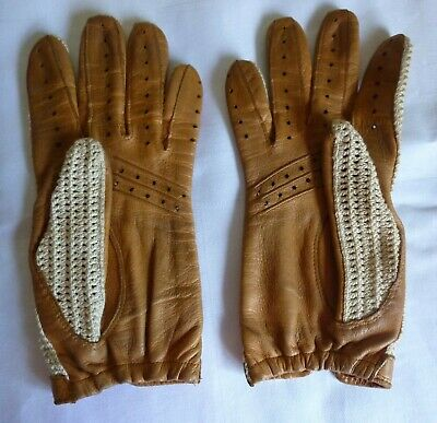 Vintage Size 7 Dent Fownes Driving Gloves 100% Cotton Back, Pigskin Palm - Made