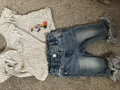 Next Girls Flare Jeans With Matching Top age 3-6 Months Used