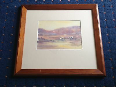 Signed (Unknown) Original Watercolour - Cows In Paddock. Australian Artist.
